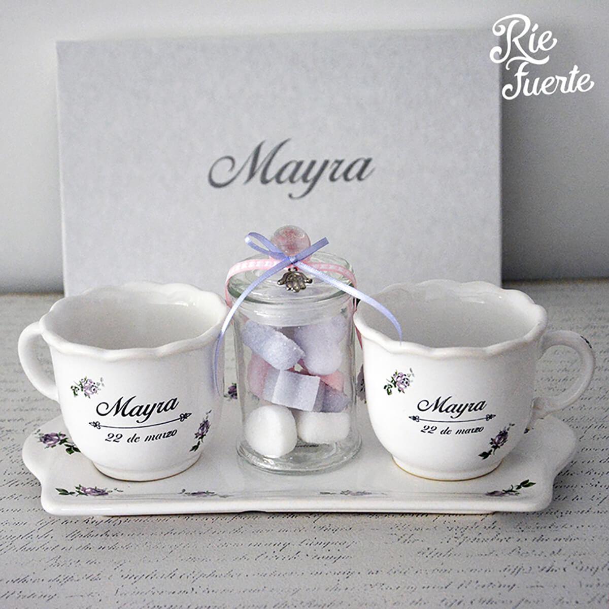Bat Mitzva Mayra 2 tazas con bandeja y azucarera mod Cielo A
