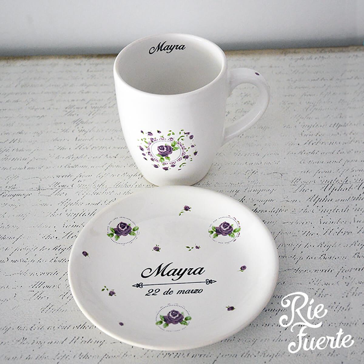 Bat Mitzva Mayra taza con plato de pocelana B