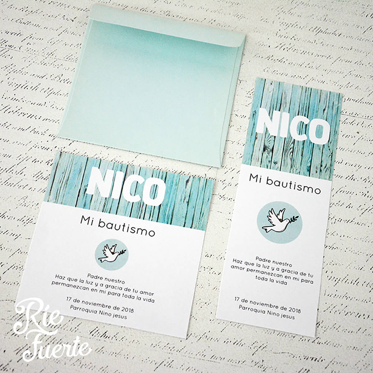 Bautismo nico tarjeta separador o cuadrada con sobre verde agua satinado