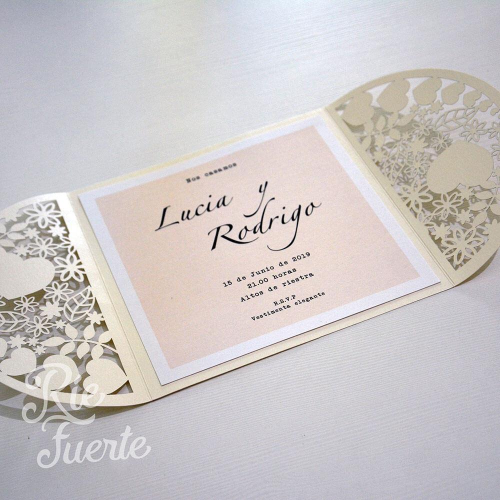 Casamiento invitación y sobre libro LyR B