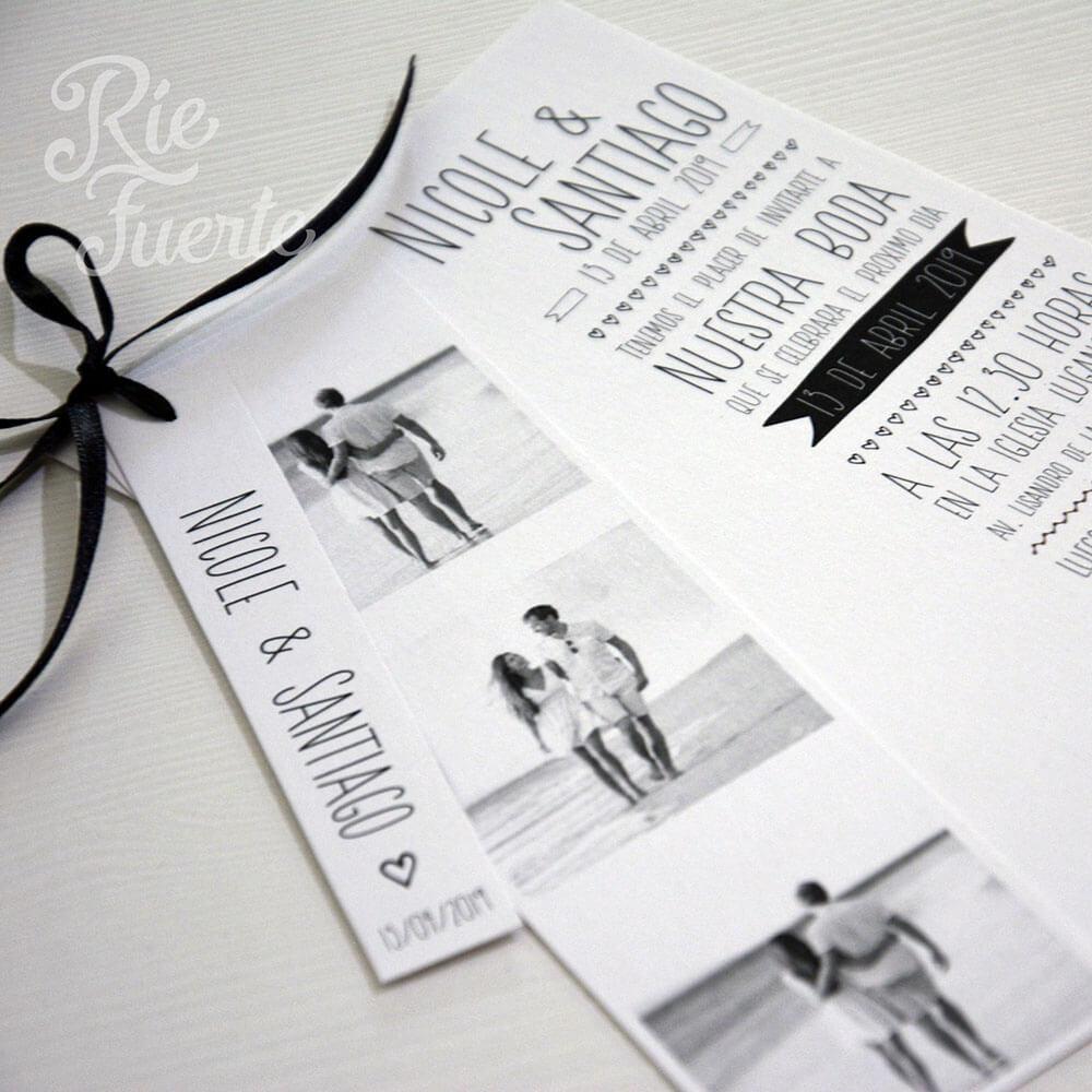 Casamiento invitacion con fotos y tag NyS A
