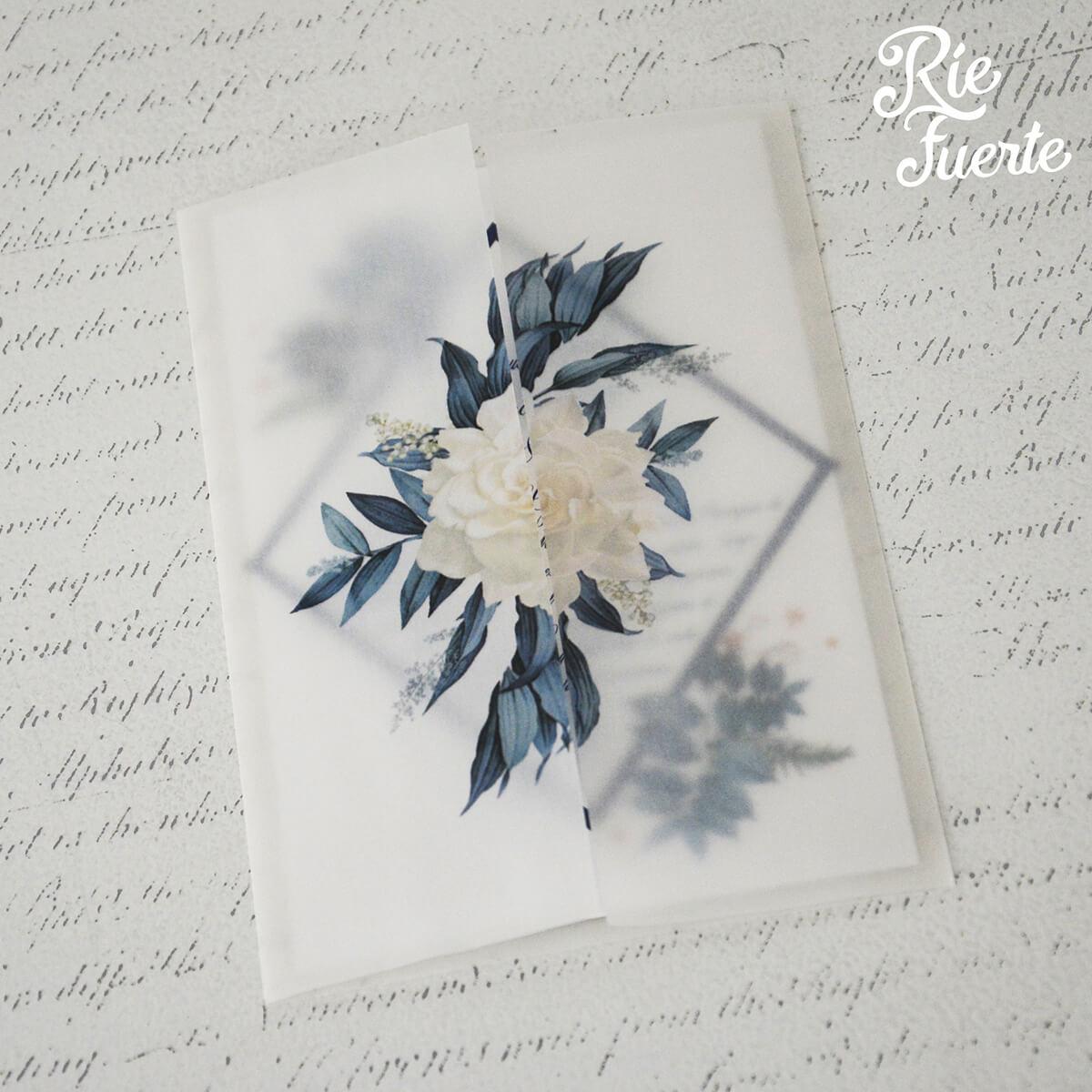 Invitacion de casamiento papel vegetal Martina y Tomas A