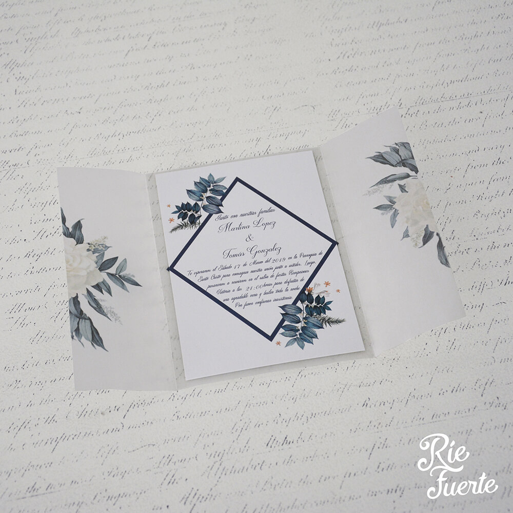 Invitacion de casamiento papel vegetal Martina y Tomas B