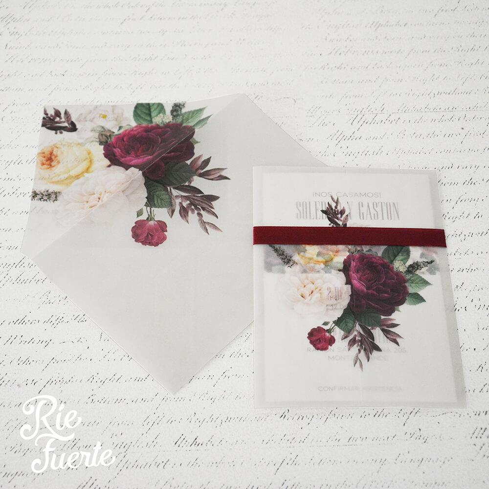 Invitacion de casamiento papel vegetal Soledad y gaston A