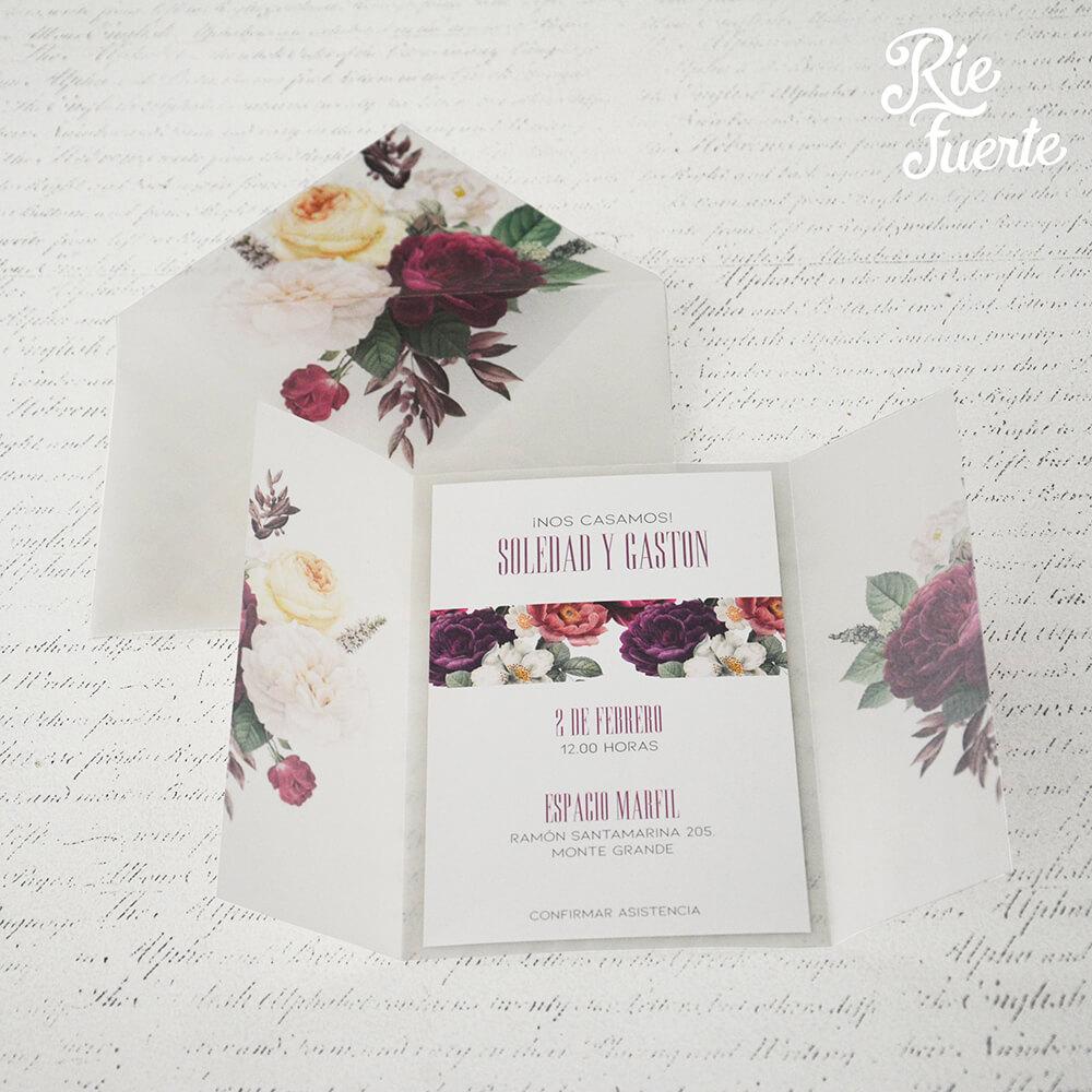 Invitacion de casamiento papel vegetal Soledad y gaston B