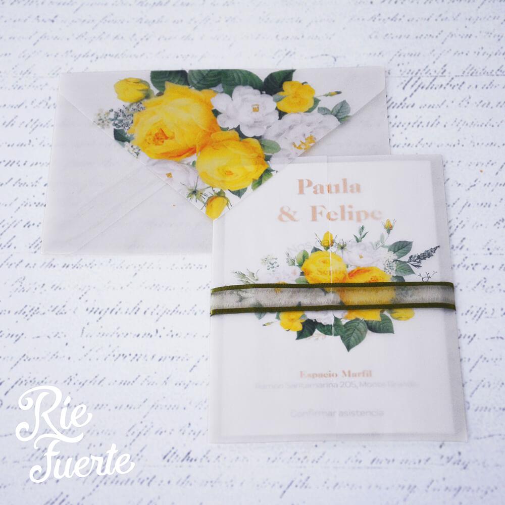 Invitacion de casamiento papel vegetal paula y felipe