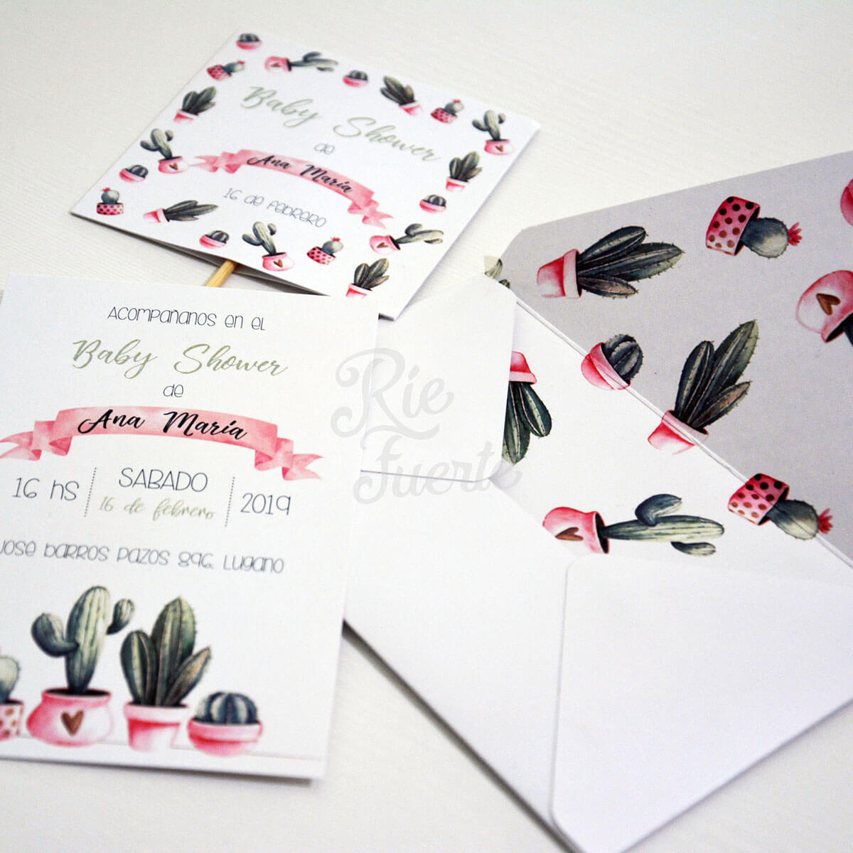 baby shower Cactus invitacion y sobres estampados D
