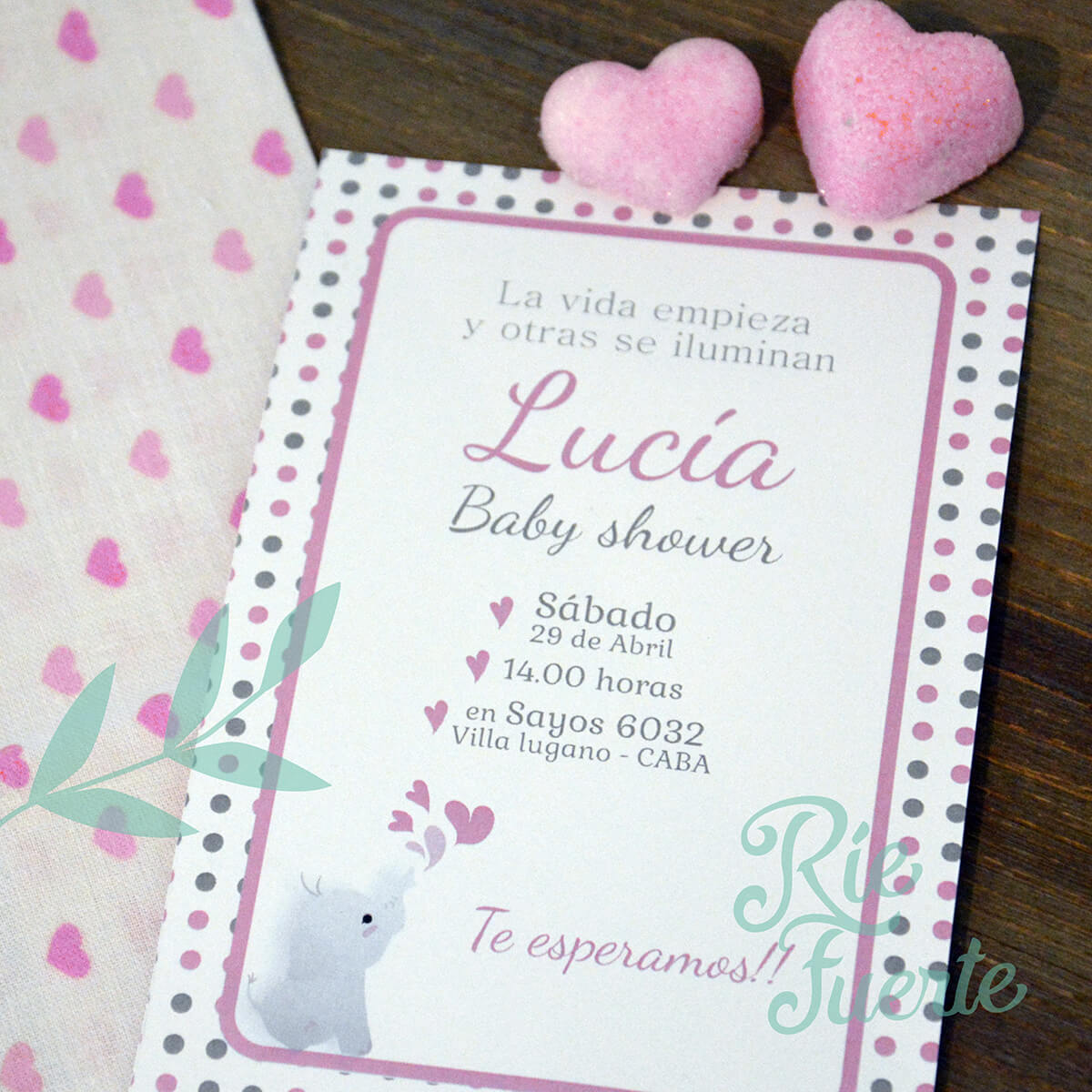 baby shower invitación M. elefant Lucian