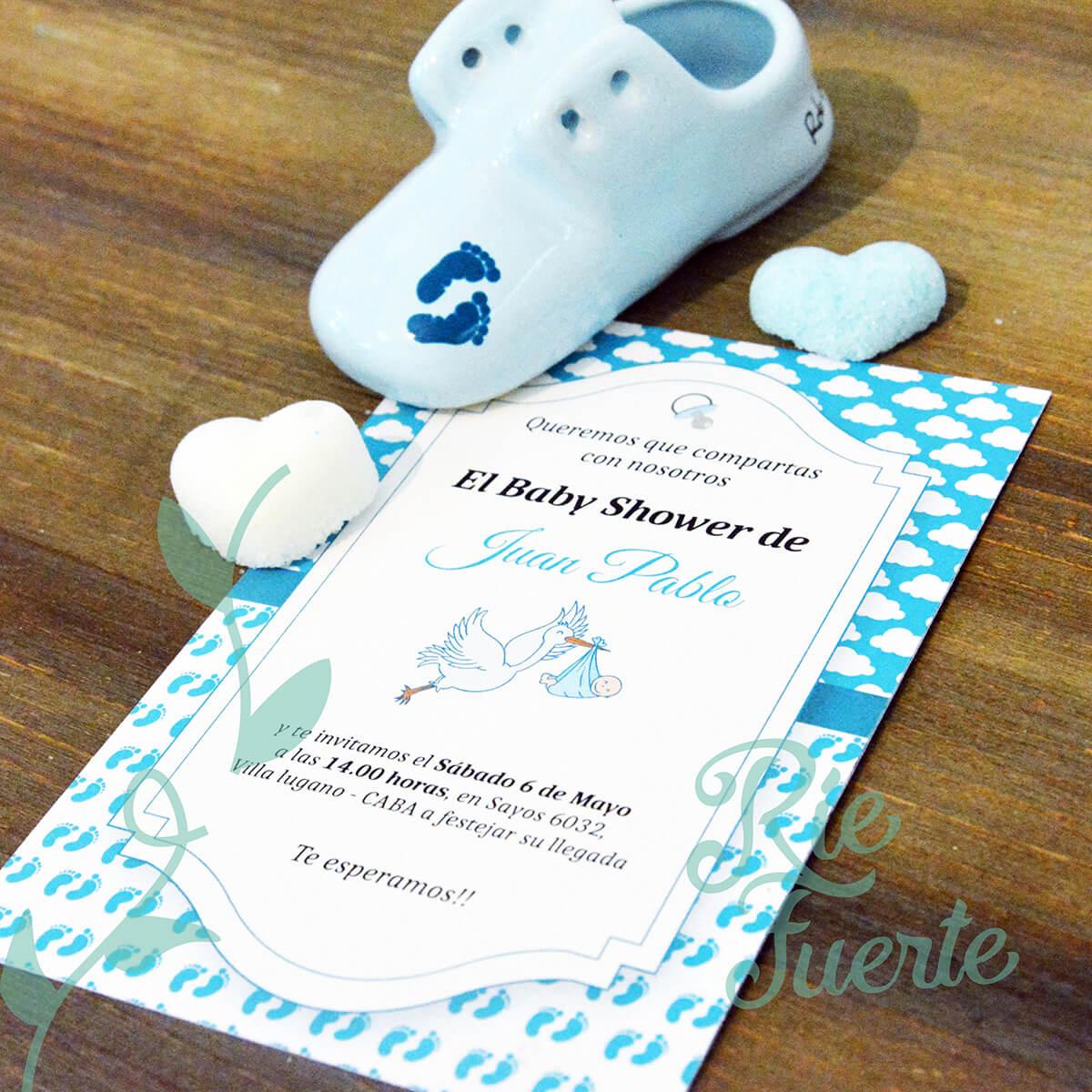 baby shower invitación M. feets Juan Pablo