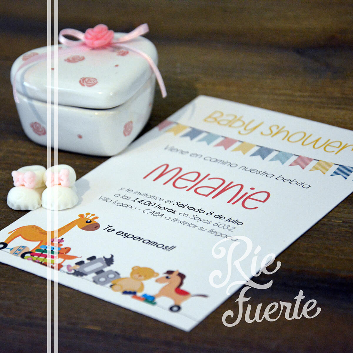 baby shower invitación M. toys Melanie