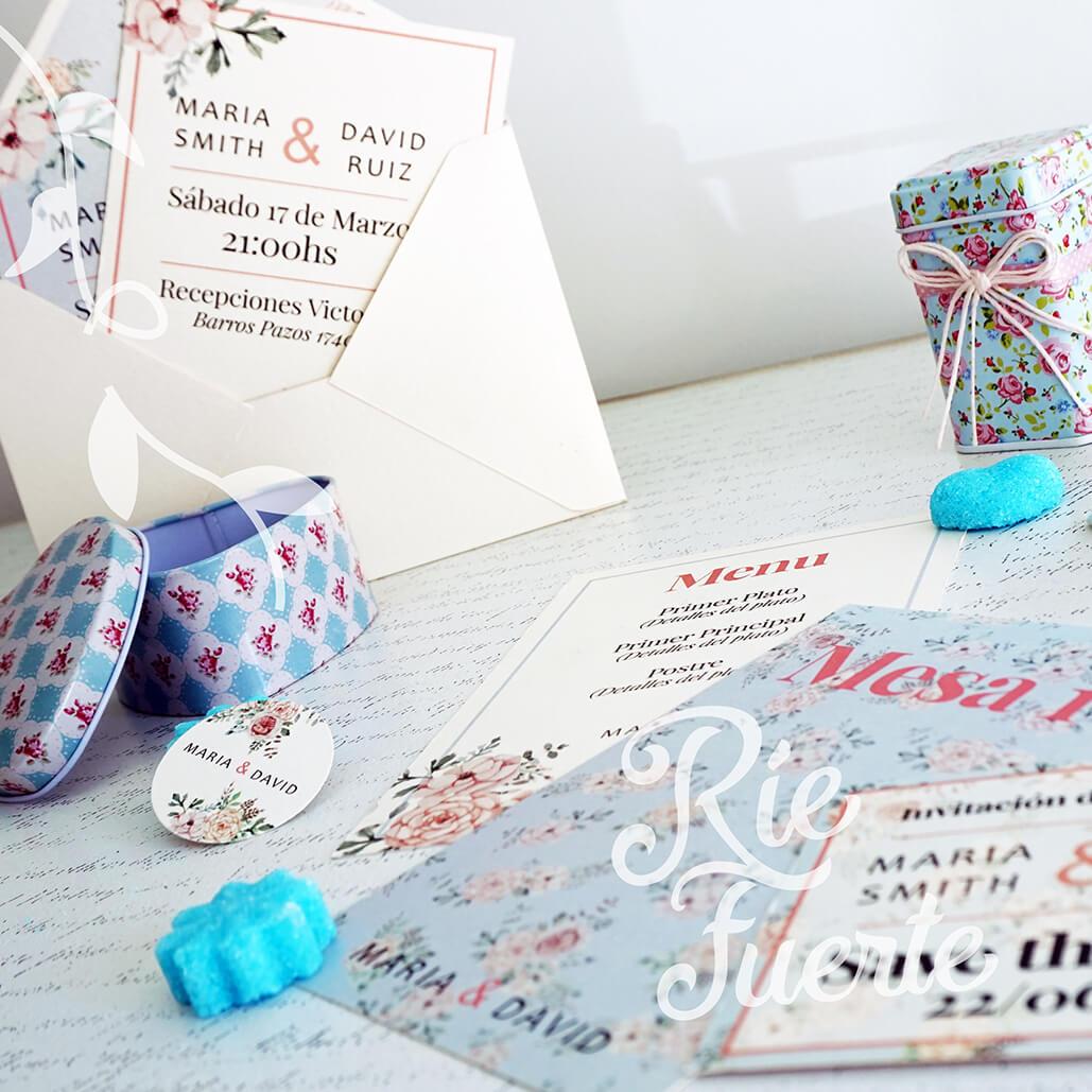 casamiento invitación con sobre, tag, menú, mesa y STD M. Maria A