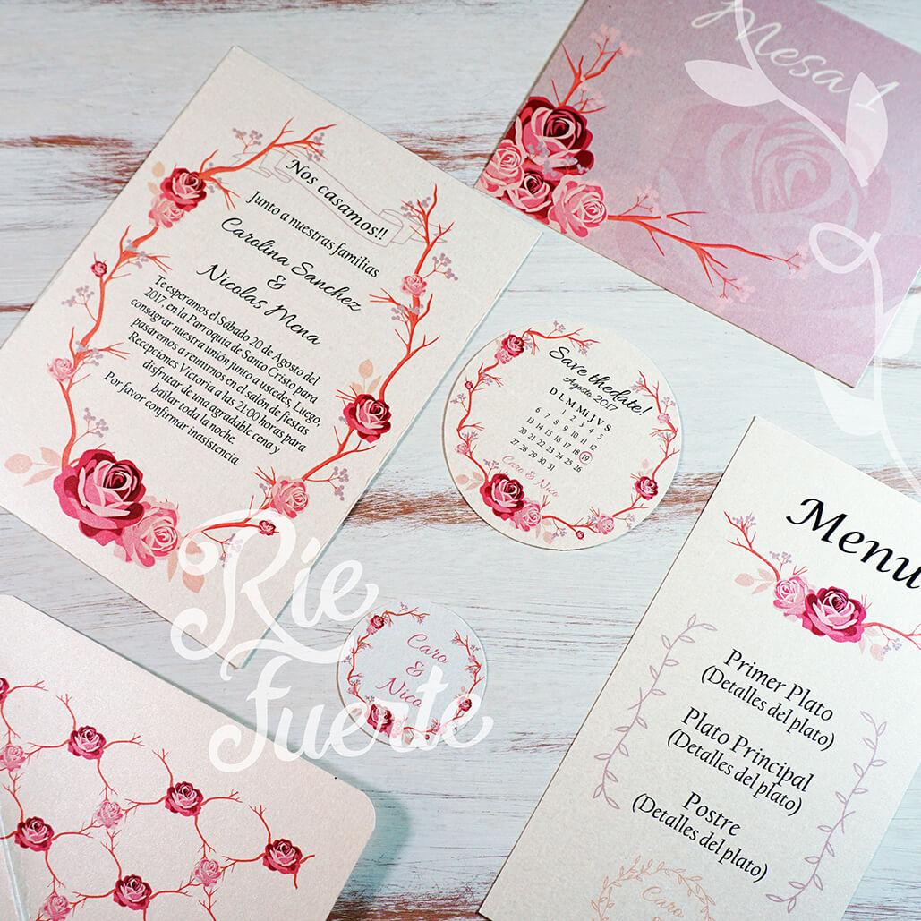casamiento invitación, menú, mesa, STD y tag M. Rosa A