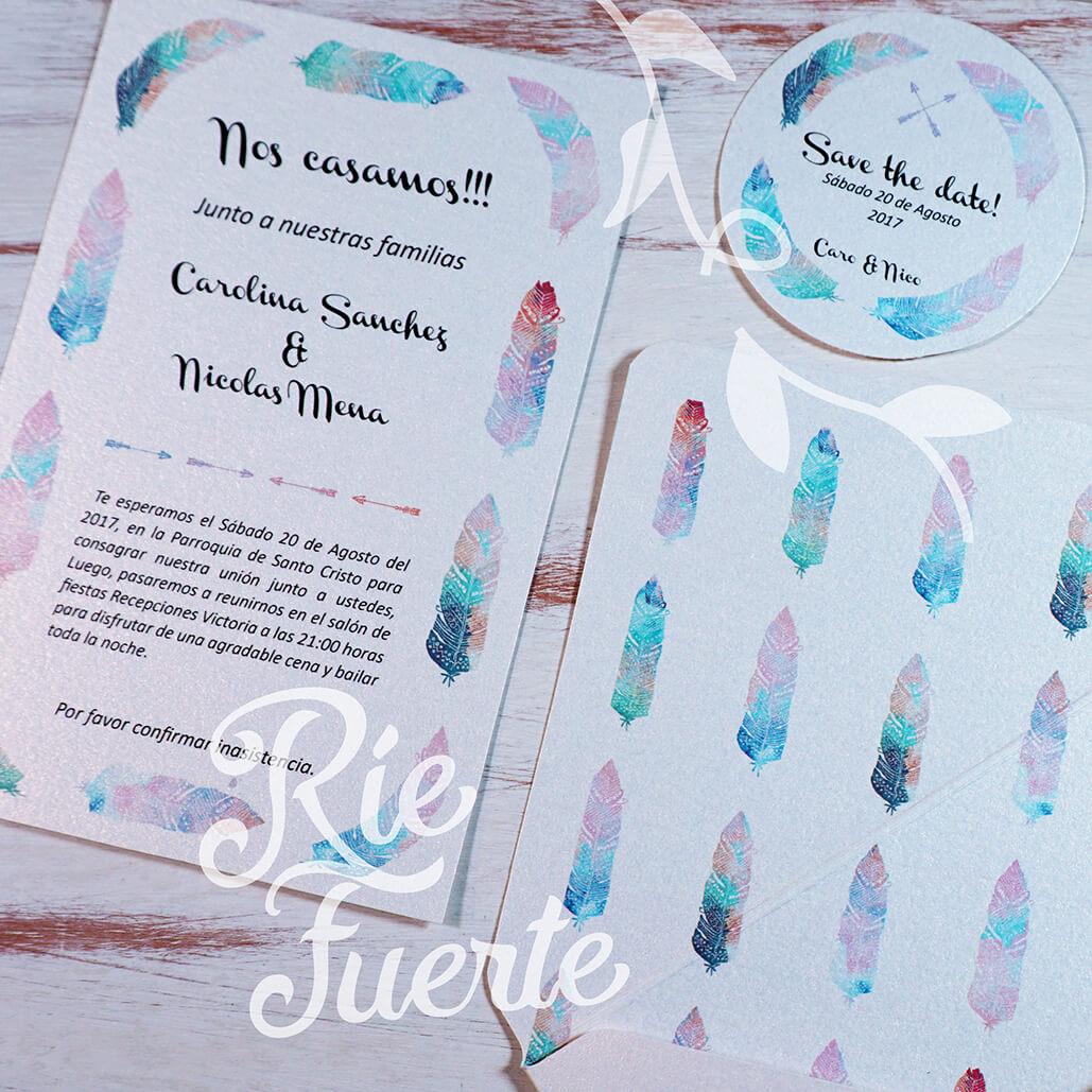 casamiento invitación, sobre y STD M. atrapasueños B