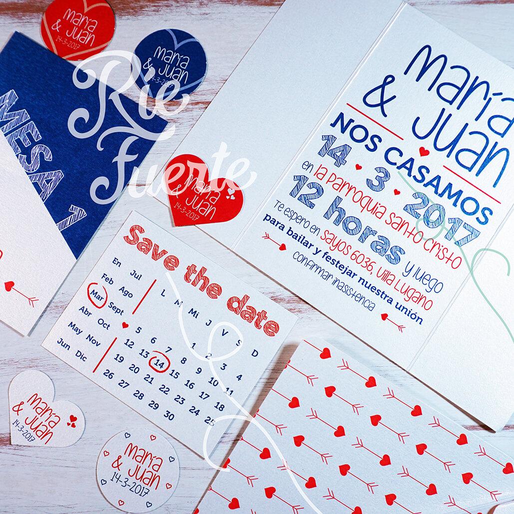 casamiento invitación, tags, mesa, STD y sobre estampado M.Cupido B