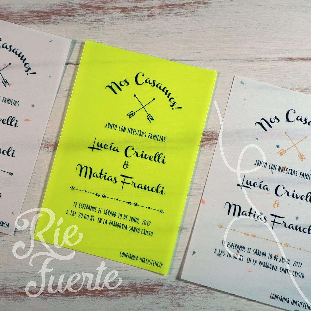casamiento invitaciones papel vegetal M. neo B