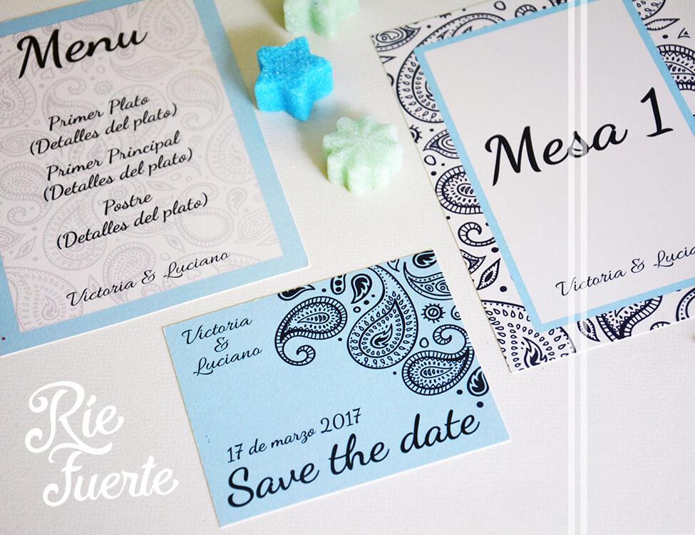 casamiento menú, mesa y save the date M. Barroco B