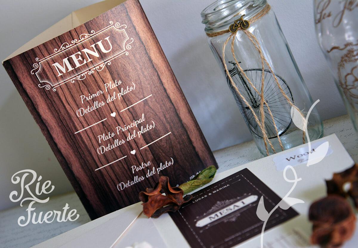 casamiento menú tríptico y mesa M. wood C