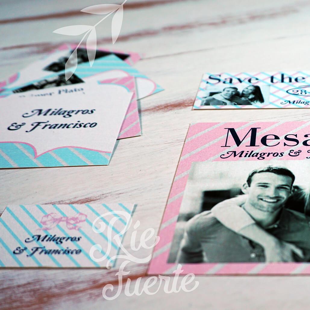 casamiento mesa, menú, STD y tag M. Tiffany A